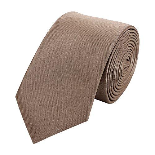 Fabio Farini - Elegante schmale Herren Krawatte einfarbig in 6cm Breite in verschiedenen Farben Hellbraun