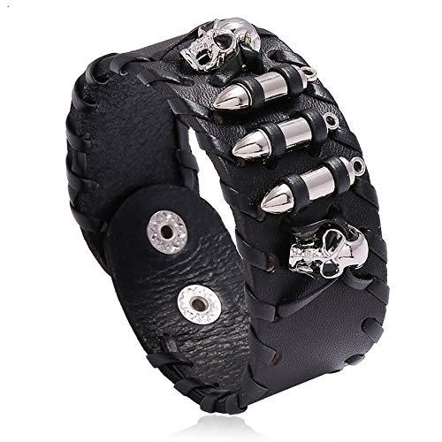 ABWEY Pulsera de cuero estilo punk, pulsera de calavera con joyería de motocicleta retro, para hombre-negro