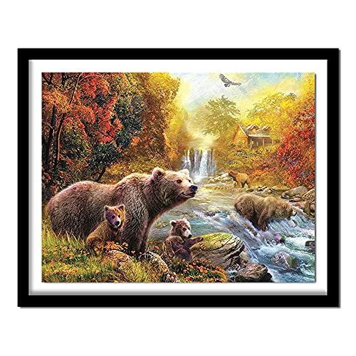 Kit de pintura de diamantes 5D con taladro completo kits de arte de cristal para adultos y niños regalos Familia de osos de cascada(30x40) CM