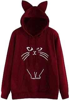 Wobuoke Hoodies for Women Cat Print Long Sleeve Cute Sweatshirt Hooded Pullover Tops Blouse