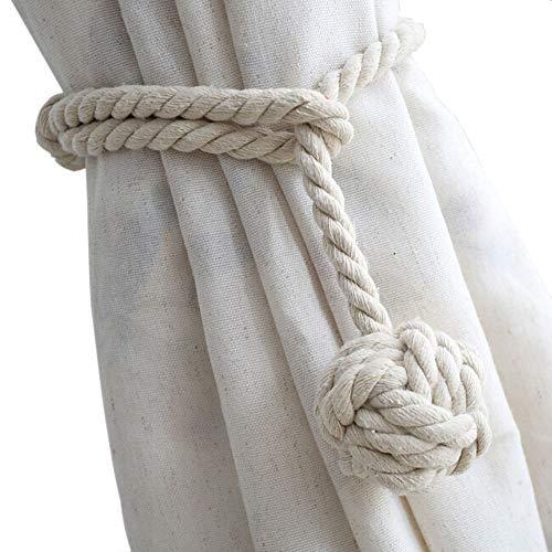 Melaluxe 4 Pack Curtain Tiebacks - Heavy Duty Curtain Rope Tieback, Handmade Rural Decorative Curtain Holdbacks (Beige)
