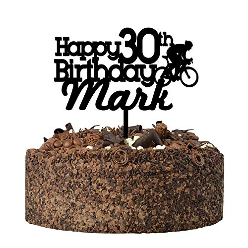 Bicycle Cycling Happy Birthday Cake Topper - PERSONALISED Mountain Bike ANY Age ANY Name Birthday Cake Toppers for Him, Son, Boys, Dad, Grandad, Kids - Gold Silver Black Wood Cake Decoration