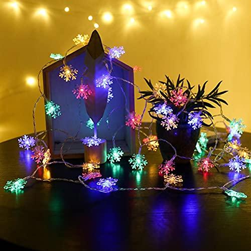 Sheey 3M 20 Luces Cadena de Luces LED Copo Nieve Navideño Navidad Decoraciones Decorativas del País Maravillas Luz Linterna para Festival Fiesta Interior Pasillo Sala de Estar Dormitorio