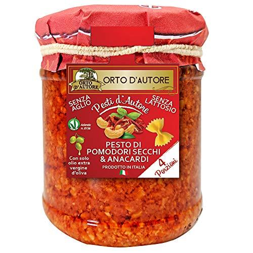 ORTO D'AUTORE Natürliches Rotes Pesto von Getrockneten Tomaten und Cashewnüssen 3 X 180 gr, Pesto im Glas, Getrocknetes Tomatenpesto und Cashewpesto 100% Made in Italy, Knoblauch Pesto, Laktosefreies