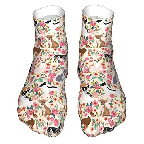 Calcetines de corte bajo que absorben la humedad ocasionales de los deportes calcetines de la tripulación lindas mascotas chihuahua perro y calcetines florales regalos divertidos adolescente