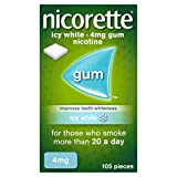Nicorette Icy White Chewing Whitening Gum, 105 Pieces, 4 mg (Quit Smoking & Stop Smoking Aid)