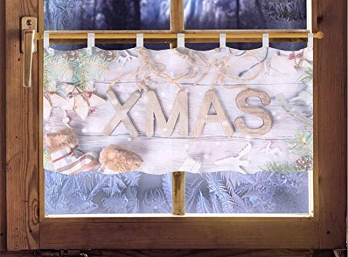 Scheibengardine Merry-X-Mas 45 x 120cm Caféhausgardine/Weihnachtsgardine weihnachtliche Landhausdeko