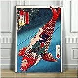 SAITO japonés - Oniwakamaru en una carpa - CARTEL DE IMPRESIÓN DE ARTE DE LONA - Cuadro de pared con estampado de peces Decoración de impresión en lienzo - 20 x 28 pulgadas x 1 sin marco