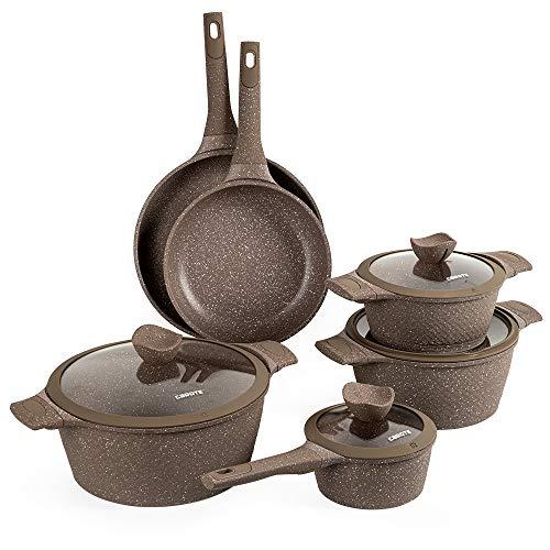 Carote Granit Nonstick Cookware Set,10 Pcs Nonstick Cookware Set Pans and Pots,...