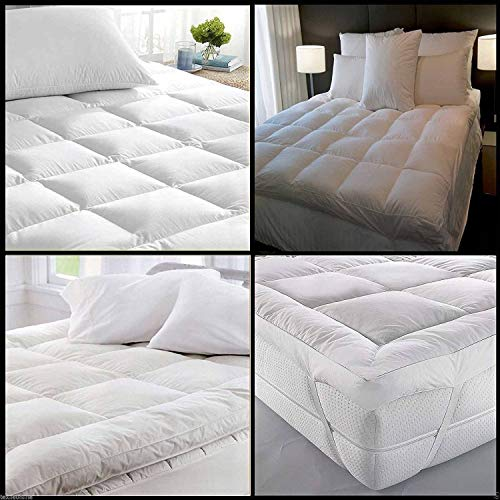 Microfibre Microlite Topper Mattress 5CM Baffle Box Stitched Elasticated Corner Straps 230TC Available in All Sizes (Small-Double)