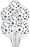 DelightBox Paw Prints-A-Round Biodegradable Latex Balloons, White with Black paw prints All-Around, 11-Inch (12-Units)