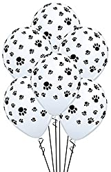 White Balloons with Black Paw Prints - Woof!