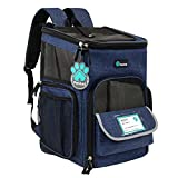 PetAmi Pet Carrier Backpack for Small Cats, Dogs, Puppies   Airline Approved   Ventilated, 4 Way Entry, Safety and Soft Cushion Back Support   Collapsible for Travel, Hiking, Outdoor (Navy)