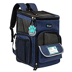 PetAmi Pet Carrier Backpack for Small Cats, Dogs, Puppies | Airline Approved | Ventilated, 4 Way Entry, Safety and Soft Cushion Back Support | Collapsible for Travel, Hiking, Outdoor (Navy)