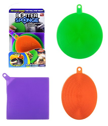 BetterSponge Cleaning Dishwashing Silicon Mildew-Free Sponges As Seen On TV (3)