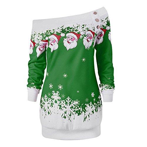 VEMOW Heißer Einzigartiges Design Mode Damen Frauen Frohe Weihnachten Schneeflocke Gedruckt Tops Cowl Neck Casual Sweatshirt Bluse(Y2-Grün, 36 DE/M CN)
