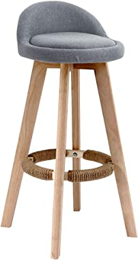 Breakfast Stool Solid Wood Bar Stools Footrest with Hemp Rope | Household Kitchen Breakfast Pub High Chair | Modern Style Barstools | Load Bearing: 200kg - Gray Barstool