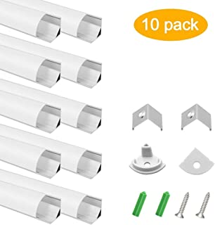 inShareplus 10 Pack, 3.3ft/1 Meter, Silver, LED Aluminum Channel System V Shape with Milk White Cover, End Caps and Mounting Clips, Aluminum Profile for LED Strip Light Installations