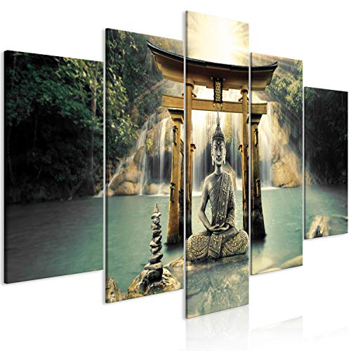 murando Cuadro en Lienzo Buda 200x100 cm Impresión de 5 Piezas Material Tejido no Tejido Impresión Artística Imagen Gráfica Decoracion de Pared Oriente Zen Cascada p-A-0033-b-n