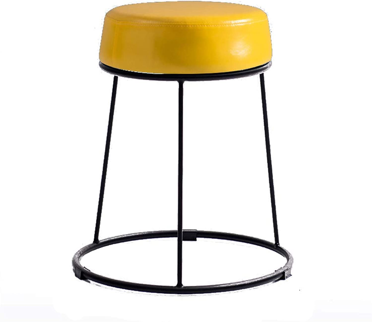 Simple Iron Stool Dining Table Stool Sofa Stool Low Stool Bench,PU Leather,for Cafe Dining Room Study Room Living Room Dressing Room,4 colors