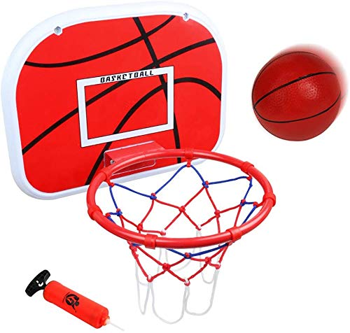 Boost Tragbarer Basketballkorb Set, Rückwand mit Metallrand, zum Aufhängen, Basketballbrett mit Mini-Basketbällen Luftpumpe, für den Innenbereich, Zuhause, Büro, Sport, Party, Spiel, Kinder, Audlts