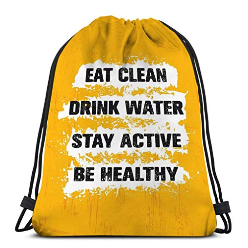 Mochila de Cuerdas Bolsa de Cuerda comer limpio beber agua mantenerse activo...