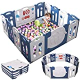 Hello-5ive Foldable Baby Playpen, Toddler Play Pen Kids Activity Centre, Safety Play Yard with Lock Door, Large Baby Fence for Indoor Outdoor Use, 14-Panel (Blue/White)