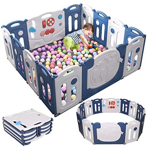 Birtech Laufstall Baby Laufgitter Absperrgitter Krabbelgitter Schutzgitter für Kinder aus Kunststoff mit Tür und Spielzeug 14 Platte,Blau Weiß