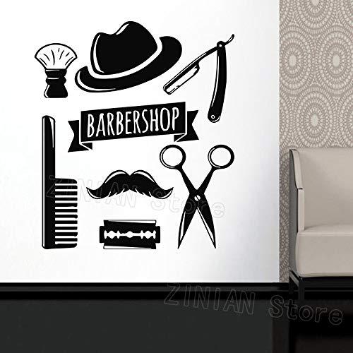 ShiyueNB Muurtattoo raamsticker schoonheidssalon gezicht kapsalon gereedschap kapsel haar man baard barbershop muursticker scheermes 56X64 cm Bb