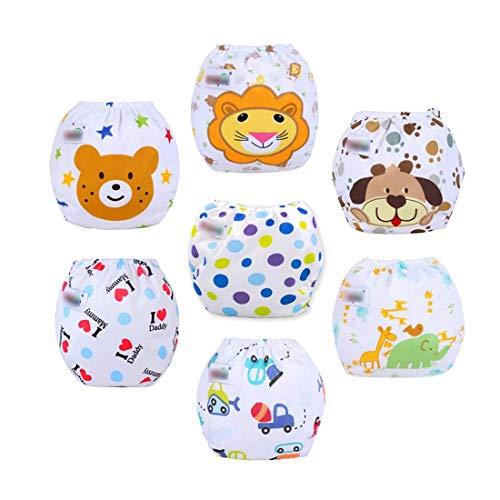 Fygood – Lotto di 7 copri-pannolini di apprendimento lavabili in cotone, regolabili, 7 colori, 35 x 27 cm, per 3-11 kg Set B Couche intérieur: Coton