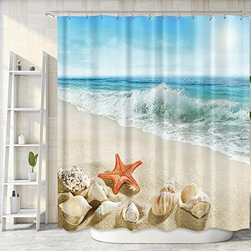 Riyidecor Beach Shower Curtain for Bathroom Decor 72Wx72H Inch Starfish Seashell Bath Set Nautical Ocean Coastal Scenery Home Accessories Blue Sky Fabric Polyester Waterproof 12 Pack Hooks WW-IHTB