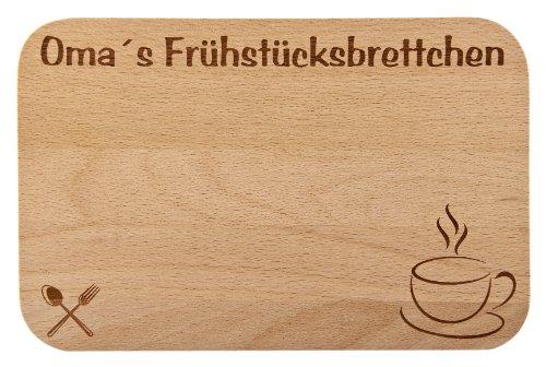 Frühstücksbrettchen/Frühstücksbrett mit Gravur für die Oma als Geschenk - aus Holz - Geschenkidee ideal zum Geburtstag oder zu Weihnachten