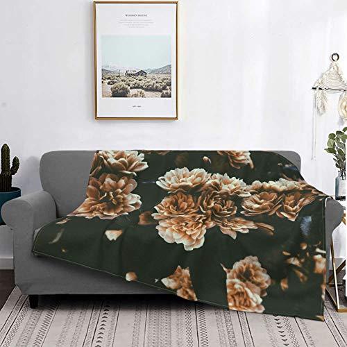 Manta unisex para bebé, manta de felpa, cálida y ligera, manta de forro polar para sofá cama, manta con patrón de estrellas (cama de flores marrones)