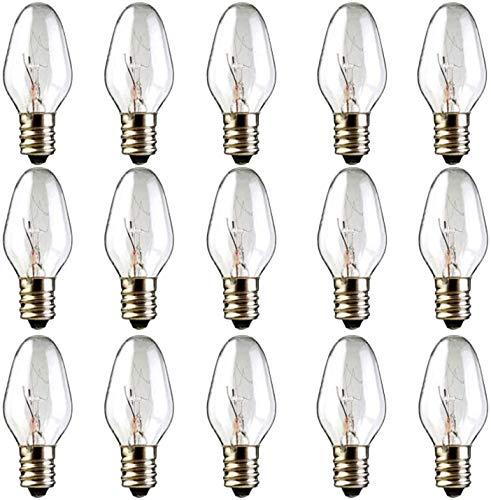 Night Light Bulbs 15 Packs Wax Warmer Bulbs C7 Light Bulbs for Plug-in Wax Warmer Diffuser Scented Candle 15W Wax Melt Warmer Light Bulbs,120V