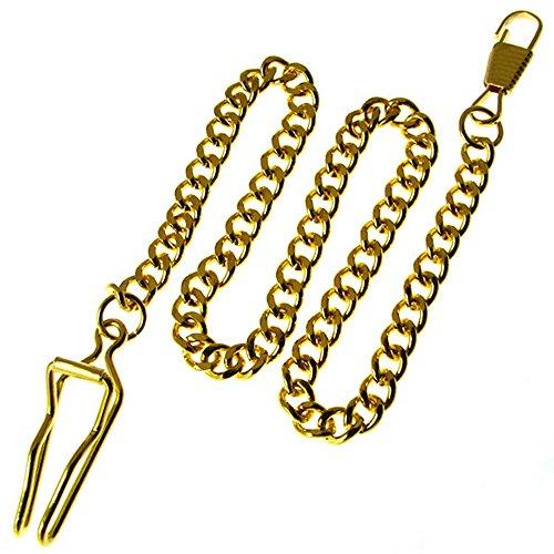 懐中時計用チェーン (フック金具付き) 長さ約36センチ 【 カラー:ゴールド 】