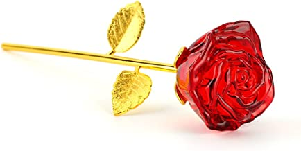 zjchao Glass Rose Flower, 24K Gold Plated Long Stem Artificial Red Rose Flower Anniversary Birthday Valentines Gift for Her