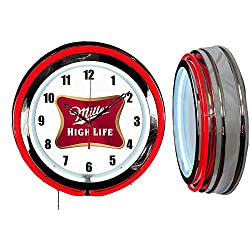 Checkingtime LLC 19 Miller High Life Beer Neon Clock, Two Neon Tubes, RED Outside Tube