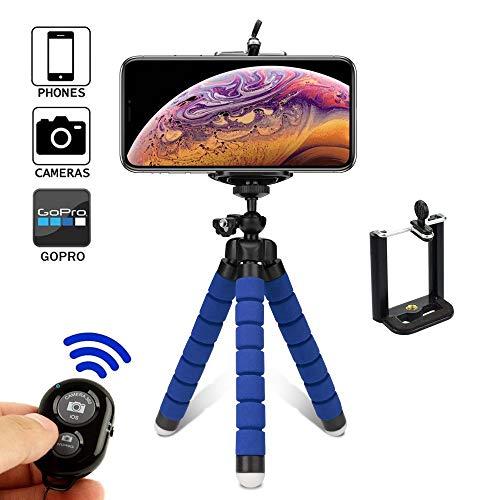 Mini Trípode Trípode De Pulpo Soporte para Teléfono Móvil Soporte para Teléfono Portátil Soporte Universal Esponja (Color : Blue)