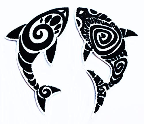 Set 2 pcs Shark sea Fish Ocean Circle of Optical Illusion Biker Motorcycle Kids Cartoon Iron on Embroidered Patch Supplies for Jacket Bags Jeans Backpack Clothes DIY