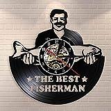 QIANGTOU El Mejor Pescador, Reloj de Pared de Pesca, Divertido Hombre de Pesca, Reloj de Pared con Registro de Vinilo Vintage, Regalo para Pescador, papá, Amantes de la Pesca