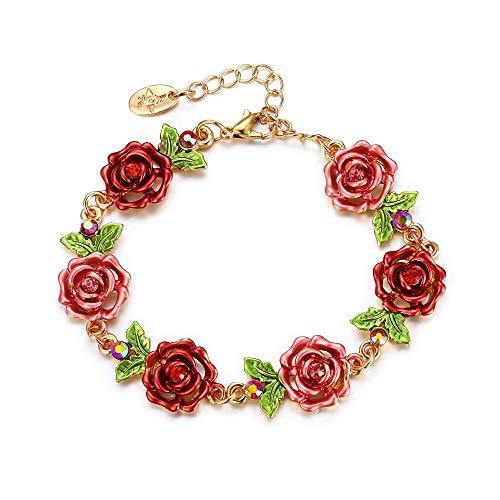 EVER FAITH Rosa Blume Armband, Hochzeit Braut Flower verstellbare Kette Armkette für Damen Rot Emaille