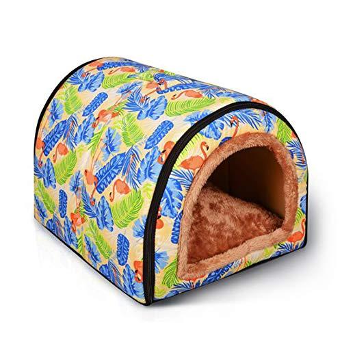 PowerKing Grotta per Cani, Antiscivolo Gatto Domestico Letto per Cani casa del Cane con Cuscino,2 in 1 Letto per Cuccioli (Flamingo)