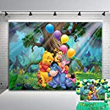 Forest Cartoon Photography Backdrop Vinyl 7x5ft Children Happy 2nd Birthday Party Banner Supplies Winnie The Pooh Friends Photo Background Baby Shower Cake Table Photo Booth Studio Props Decorations