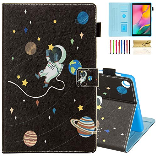 Case for Samsung Galaxy Tab A 10.1 2019 SM-T510/ T515, Casii Ultra Lightweight Protective PU Leather Magnetic Cover with Multi-Angle Viewing Stand for Galaxy Tab A 10.1 Tablet 2019 (Outer Space)