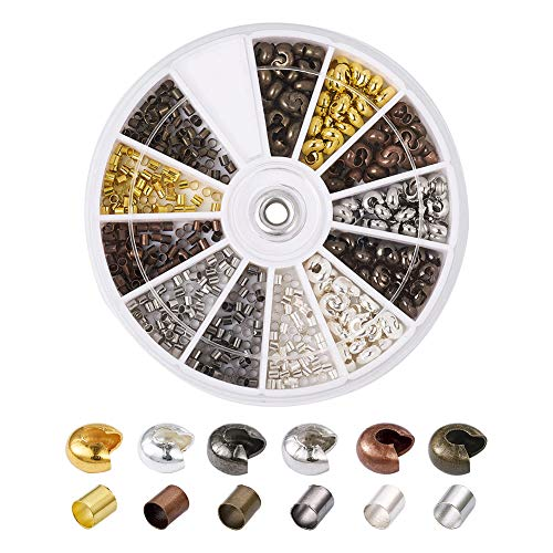 Pandahall 1Box/540pcs Crimping Makings with 2mm Brass Tube Line Crimp Beads Clamp Tips & 4mm Brass Open Half Round Crimp Beads Covers Antique Bronze & Red Copper & Black & Silver & Golden & Platinum