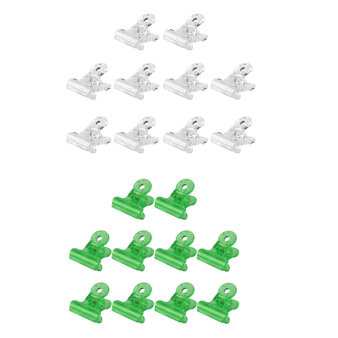 おそらく場合和Perfeclan ネイルクリップ オフ ジェルネイルポリッシュ クリーナークリップ 再利用可能 20個セット 全3種 - グリーン+クリア