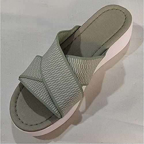 ypyrhh Zapatos de Playa y Piscina para,Pendiente de la Fortuna con Arrastre de Arena,Zapatillas de tamaño Grande-Verde_42,Chanclas para Adulto Mujeres