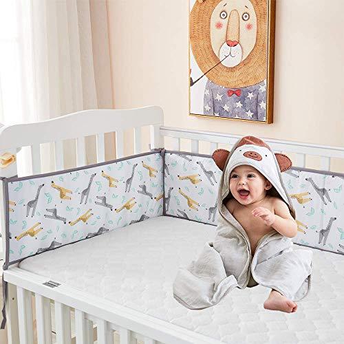 TEALP Cuna para bebé Parachoques Cuna Cama 4 piezas 100% algodón Envoltura alrededor Protección Cuna segura Parachoques-Jirafa 405cm x 25cm