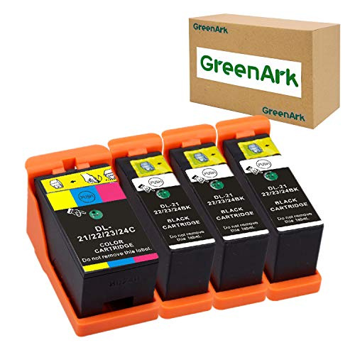 GREENARK Compatible for Dell Series 21 Ink Cartridges Use for Dell V313w V515w P513w V715w P713w Printers 4 Pack, (3 Black and 1 Color) for Dell Series 21, Series 22, Series 23, Series 24