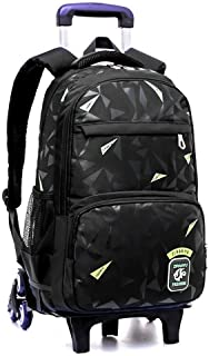 Student Trolley Backpack, Large Capacity Detachable Wheeled Roller Backpack, Climbing Staircase Travel Tote (Color : Black Green)
